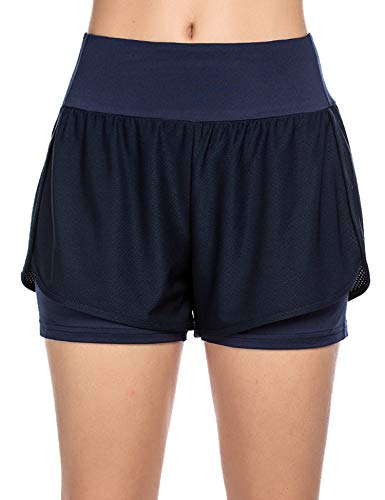 COOrun Shorts Damen 2 in 1 Laufshorts Sommer Sports Shorts Running Shorts Kurz Sporthosen Sweatshorts Blau, L