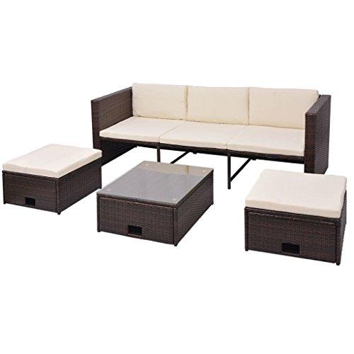vidaXL Gartenmöbel 4-TLG. mit Auflagen Sitzgruppe Sitzgarnitur Lounge Sofa Gartenset Gartensofa Sofagarnitur Rattanmöbel Poly Rattan Braun
