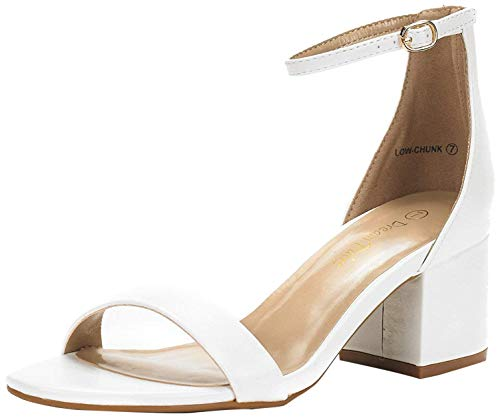 DREAM PAIRS Women's Low-Chunk White Pu Low Heel Pump Sandals - 8 M US