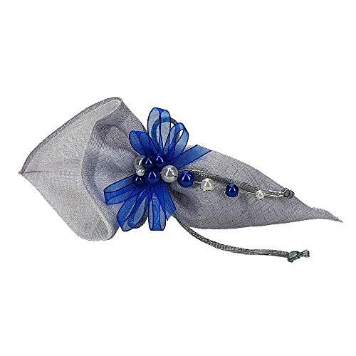 STEFANAZZI 20 stuks snoepjes doe-het-zelf set zakjes linnen stof met decoratie voor gastgeschenken confect doop communie confirmatie huwelijk verjaardag feestsieraad Grigio Perla 21