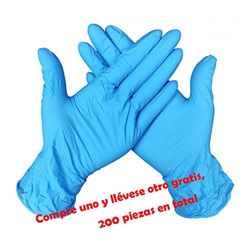 Nokiwiqis Guantes Desechable Nitrilo sin polvo, en Small, Medium, Large Caja 100 Unidades (M, Azul)