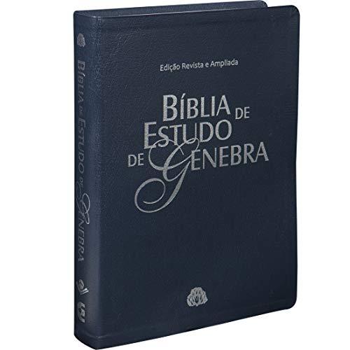 Bíblia de Estudo de Genebra - Couro bonded Azul: Almeida Revista e Atualizada (ARA)