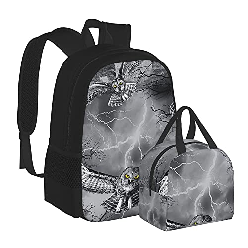 Zainetto per scuola di Halloween, con ali di gufo, per scuola, università, ragazze, per bambini, resistente all'acqua, per computer portatile, borsa casual con borsa termica per il pranzo