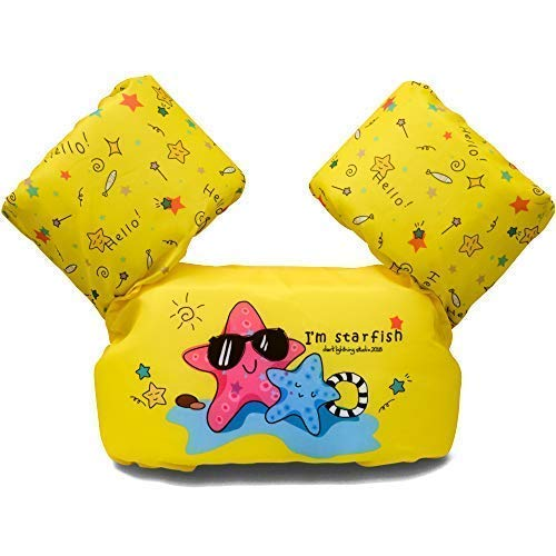 Dark Lightning Kids Float Vest for Swimming Pool,Life Jacket for Baby/Infant/Toddler 30lbs to 50lbs,Starfish, Yellow