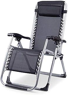 Ibuyer Tumbona de jardín con soporte para tazas y teléfonos, tumbonas reclinables de playa de gravedad cero y resistente al aire libre silla plegable (1, negro)