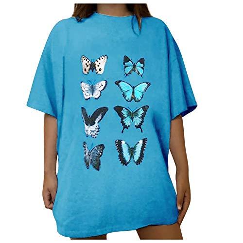 Camiseta de verano suelta, camiseta de mujer, tallas grandes, blusa elegante, camiseta de manga corta, cuello redondo, holgada, Azul A., L
