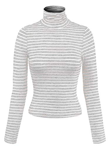 MixMatchy Women's Tight Fit Lightweight Solid/Stripe Long Sleeves Turtle Neck Top Heather Grey S