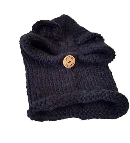 KILTYEN Mädchen Strickmütze Cartoon Bär Wolle Ohrenschützer Mütze Outdoor Winter Warme Kinder Skimütze,Black
