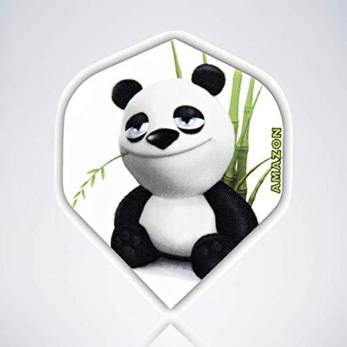 myDartpfeil Weiße Standard Dart Flights | Panda aus Kunststoff | 3er Flight Set | Dartpfeil Flyer