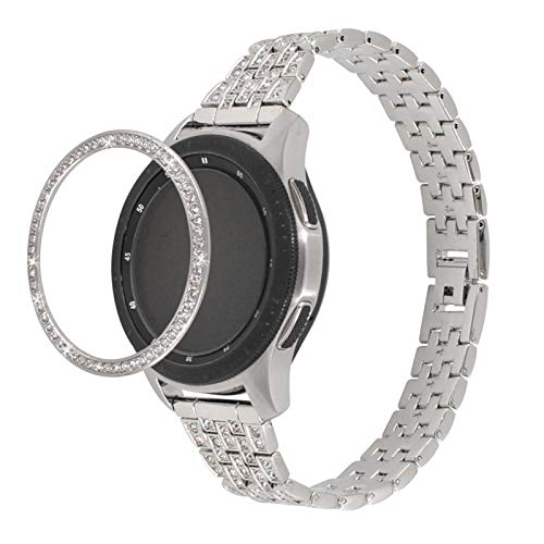 TechCode Galaxy Active 2 44mm Bands, Women Bling Replacement Band& Shiny Bezel Ring 20mm Diamond Jewelry Bracelet Metal Strap for Samsung Galaxy Watch3 41mm/Watch Active/Active 2 40mm 44mm (Silver)