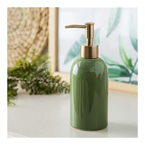 Lotion Spender 420 ML Multicolor Keramik Emulsion Spender Flasche Gold Preser Seifenspender Hotel Club Handbrause Gel Shampoo Flasche Seifenspender (Color : Green)
