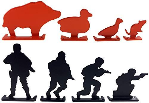 SP Full Steel Soldier & Animal Shooting Targets 8 pcs for AEG GBB Airsoft – Black/Orange