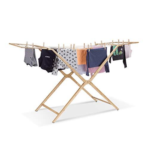 Relaxdays Wäscheständer Bambus, faltbarer Flügeltrockner m. 13m Trockenlänge, Wäschehalter HBT 101x184x60 cm, natur