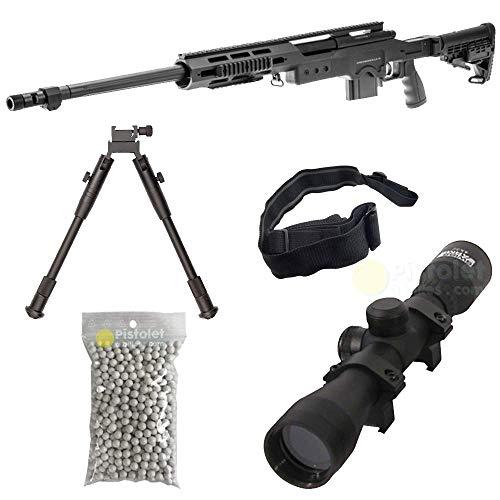 Pacchetto Completo con Accessori - Fucile per Softair, Swiss Arms Modello S.A.S 12 Sniper, a Molla, 0,5 Joule, Colore Nero, Ricarica Manuale