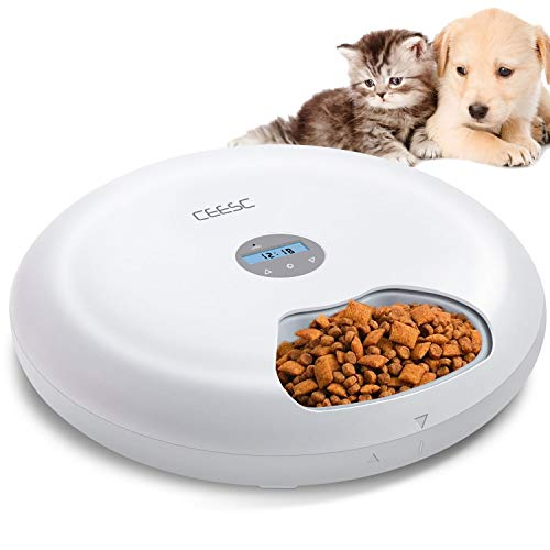 CEESC 6-Meals Automatic Cat Feeder F6-LCD- Auto Pet Feeder with Programmable Timer Dry and Wet Food Dispenser for Cat and Small Dog Portion Control Dual Power Supply 6x180ml