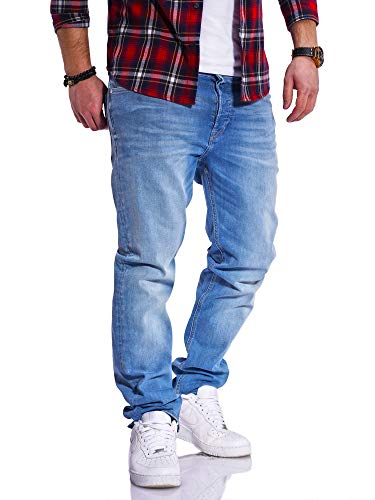 JACK & JONES Herren Jeans Clark ARIS Regular Fit Straight Leg Denim Herrenhose (W32 L34, Light Blue Denim)
