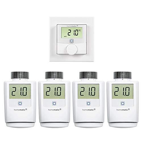 Homematic IP Smart Home Set Heizung mit 4X Heizkörperthermostat und 1x Wandthermostat