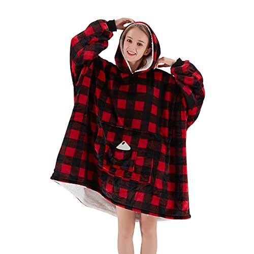 OCTROT Wearable Blanket Hoodie, Fuzzy Soft Sherpa Oversized Blanket Sweatshirts for Women Men, Large...