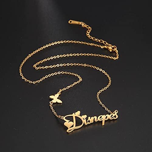 HUREWQ Collar Collar de Nombre Personalizado de Acero Inoxidable Personalizado corazón Mariposa Cruz Collar de Unicornio para Mujer Regalo de joyería Personalizada