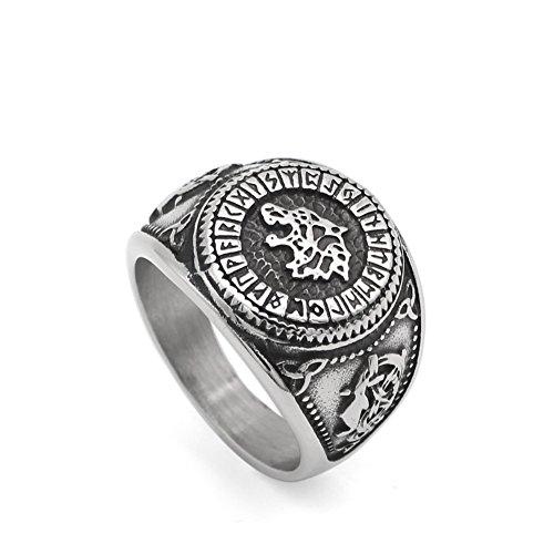 GuoShuang Nordic Viking Bear Man Amulet Worrior Amulet Stainless Steel Ring with Valknut Rune Gift Bag