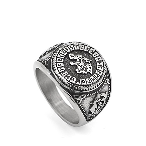 GuoShuang Nordic Viking Bear Man Amulet Worrior Amulet Stainless Steel Ring with Valknut Rune Gift Bag