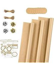 RUSPEPA Rolki papieru do owijania z etykietami, naklejkami, wstążką kokardkową i sznurkiem jutowym - 43 cm x 3 metry na rolkę, łącznie 3 rolki, jednolity brązowy