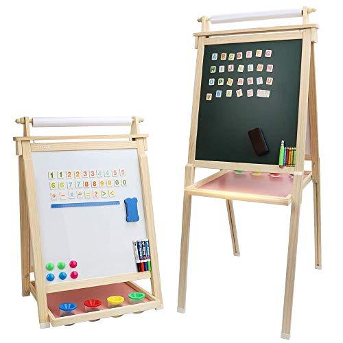 Dripex Kinder Kunst Staffelei mit Papierrolle doppelseitige Tafel und Magnetic Board für Kinder Malen Upgrade Whiteboard Kreidetafel(Holzfarbe)