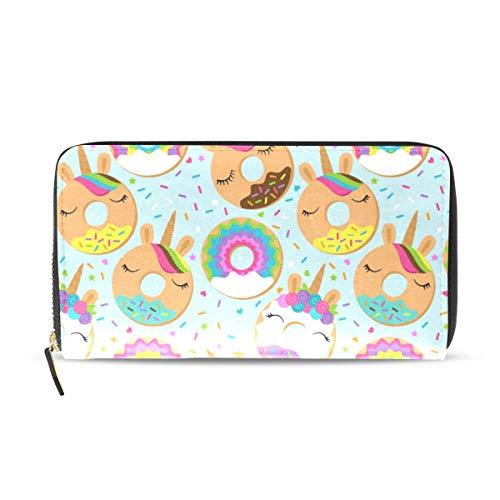 Ahomy Womens Zipper Wallet Cartoon Unicorn Donuts PU Leather Ladies Long Wallet Purse Coin Clutch Bag