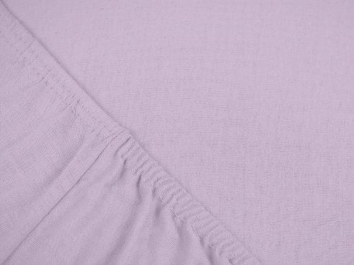 npluseins klassisches Jersey Spannbetttuch – erhältlich in 34 modernen Farben und 6 verschiedenen Größen – 100% Baumwolle, 70 x 140 cm, flieder - 4