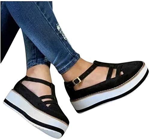Damesschoenen 2020 Platform Espadrilles Sandalen Gesloten gesp Schoenen Dames Mode Kwast Leren schoen Damesschoenen Casual Effen Grote maten Damesschoenen,Black,39