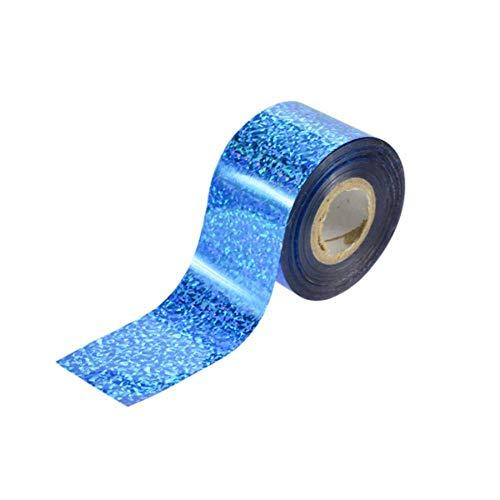 Autocollant holographique pour œil de chat de mode 100m pour ongles, laser, étincelles étoilées de transfert d'art de clou, rouleau de beauté bricolage, bleu clair