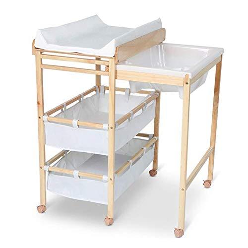 sxtylqq Massivholz Kinderbett Windeltisch Abnehmbarer Wickeltisch Massagetisch Faltbarer Multifunktions-Duschständer mit Massagekissen und Badewanne