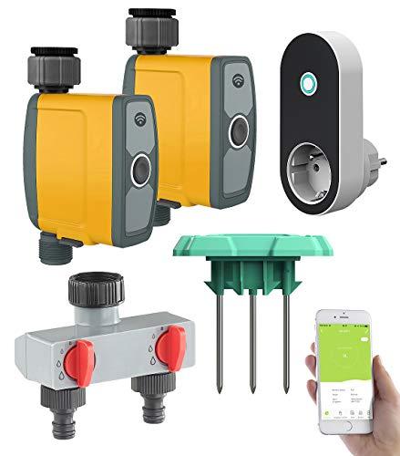 Royal Gardineer WLAN Bewässerung: WLAN-Bewässerungscomputer, 2-Wege-Verteiler, Feuchtigkeitssensor, App (Bewässerungscomputer Apps)