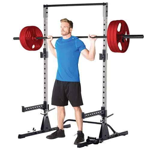 Fitness Reality Squat Rack Power Cage with J-Hooks, Landmine 360° Swivel, Weight Plate Storage Attachment and Power Band Peg