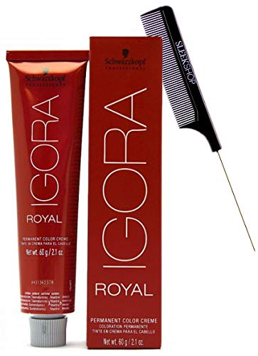 Schwarzköpf The Original IGORA ROYAL Permanent Hair Color Creme (w/Sleek Steel Pin Rat Tail Comb) Cream Haircolor Dye (8-0 Light Blonde)