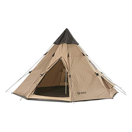Guide Gear 10' x 10' Teepee Tent for Adults Outdoor Camping, 2-Person, Instant Easy Set-Up Waterproof 4-Season Tents for Backpacking, Hiking