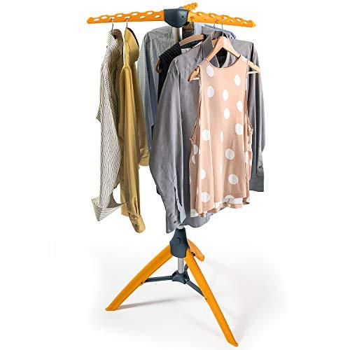 Tatkraft Palm, Bügelwäscheständer, Wäschespinne Camping, Stahl Rostfrei, ABS, Silber und Orange, Kompakt Faltbar, Für 42 Kleiderbügel