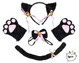 Beelittle Cat Cosplay Costume Kitten Ears Collar de Cola Paws Cat Cosplay Collection 5 Pack (Black)