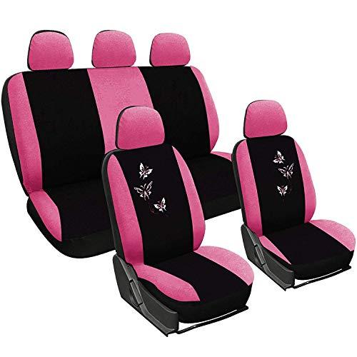 WOLTU 7247 Coprisedile Copertura Sedile Auto Seat Cover Completo Poliestere Universale Donna Farfalle Comodo Rosa