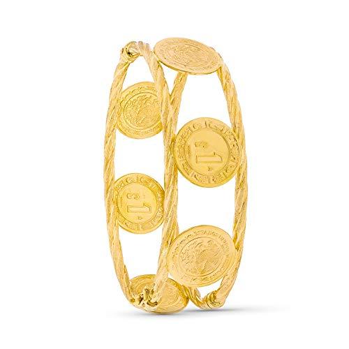 Pulsera oro 18k rígida monedas antiguas dólar ovalada [AC0029]