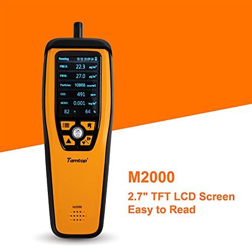 Temtop M2000 Monitor de calidad del aire para CO2 PM2.5 PM10 Partículas HCHO Temperatura Humedad Audio Alarma Monitor de CO2, Detector de CO2