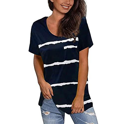 Camiseta Mujer Tops Mujer Elegante A Rayas Cuello Redondo Mangas Cortas Dobladillo Irregular Temperamento Desplazamientos Holgadamente Cómodos Mujer Blusa F-Dark Blue XXL