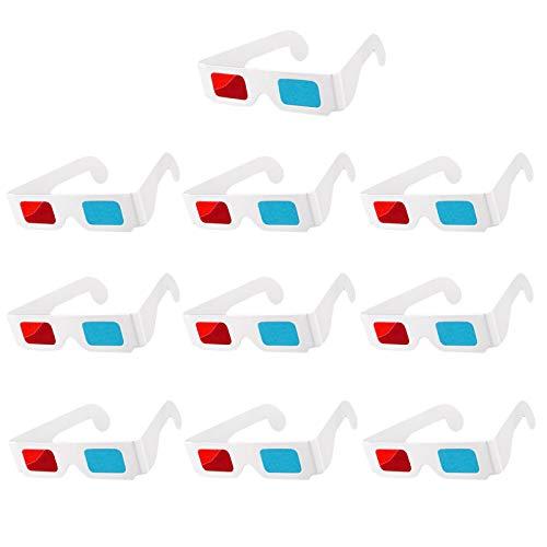 Gafas 3D de papel, gafas 3D, ligeras y fáciles de transportar para la decoración de la película, 10 pares, rojo y azul