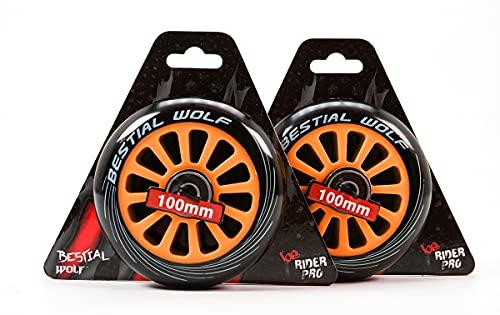 Nuevo Bestial Wolf Pilot XX2 Pack mit zwei Original-Rädern, Durchmesser 100 mm, für Scooter Freestyle (Orange)