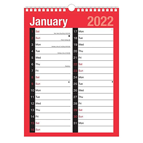 2022 A4 Large Print 2 Column Calendar 8032