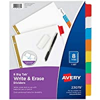 (48-pack, 8 Tab) - Avery Big Tab Write & Erase Dividers, 8 Multicolor Tabs, Case Pack of 48 Sets (23079)