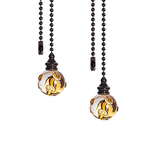 Crystal Ceiling Fan Pull Chains Hanging Amber Point Pendants Prism Pack Of 2