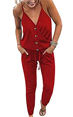 ECOWISH Women's V Neck Spaghetti Strap Drawstring Waisted Long Pants Jumpsuit Rompers 870 Red S