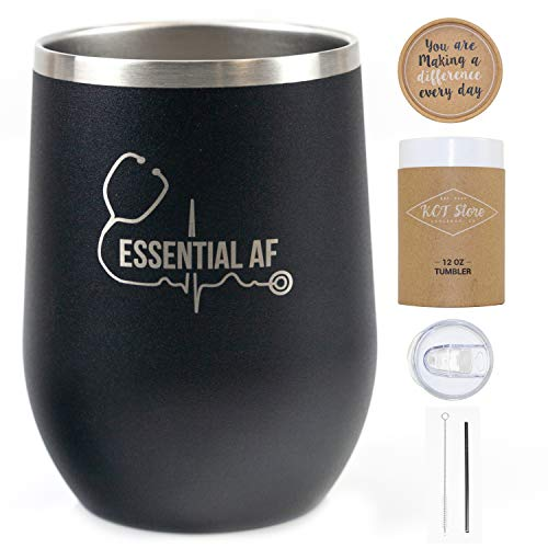 Product Image 4: KCT Store Nurse Gifts – Doctor Gifts & Medical Gifts – Essential AF – Stainless Steel Double Walled Wine & Coffee Tumbler – BPA Free Closing Lid and Metal Straw Included – 12 oz (Matte Black)