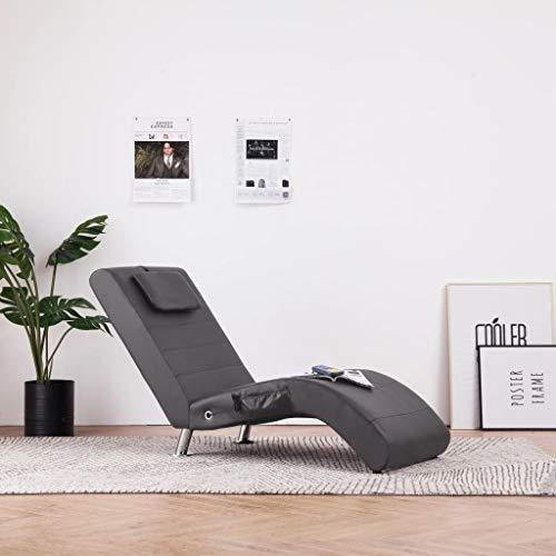 UnfadeMemory Massage Chaiselongue mit Kopfkissen Massagesessel Kunstlederbezug Relaxliege Massagestuhl mit 5 Massagemodi und Heizfunktion Verzinkte Stahlbeinen 144 x 59 x 79 cm (Grau)